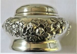 Antique Simons Bros Sterling Silver Lidded Dresser Jar Box Floral Garlands