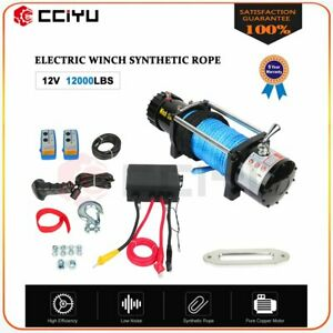 12000lbs 12v Electric Winch For Truck Trailer Pickup Suv Wireless Remote New