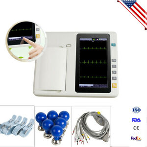 Ecg 301 Touch Digital 3channel Ekg Machine Electrocardiograph 12 Lead Lcd Fda