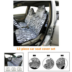 12pcs Zebra Textured Car Seat Cover Full Set Steering Wheel Cover Belt Armrest