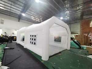 Portable Inflatable Car Spray Booth 28x15x10ft Mobile Paint Tent White Upgrade
