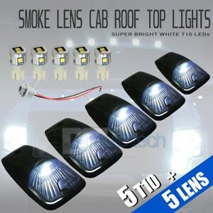 5x Roof Truck Suv Cab Marker Running Clearance Universal Smoked White Led Lights