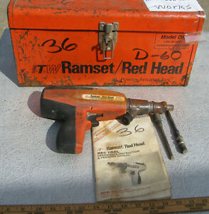 Ramset Red Head Nail Gun D60 W Metal Case Itw Industrial Powder Actuated Nailer