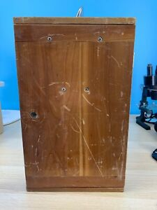 Bausch And Lomb Wooden Microscope Case With Key