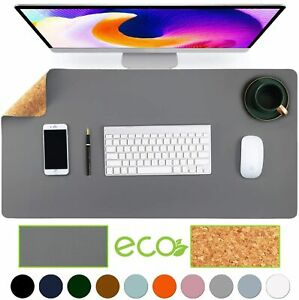 Natural Cork Leather Double Sided Office Desk Mat With Mouse Pad Smooth Gray