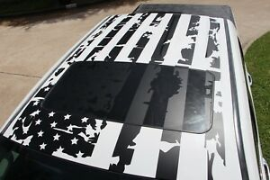 Large Vinyl Sticker American Flag Decal For Roof Hood Side Rear Bed Window