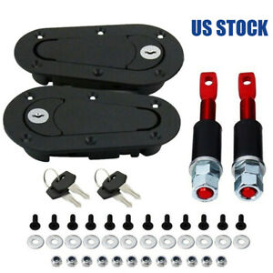 Car Quick Release Locking Hood Latch Pin Kit Black Or Carbon Fiber Universal Fit
