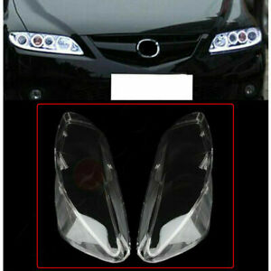 Pair Headlamp Cover Headlight Lens For 2003 2008 Mazda 6 Front Left