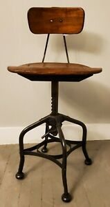 Antique Toledo Industrial Drafting Stool Vtg Adjustable Swivel Chair