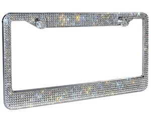 1 Lux White Diamond Crystal Metal License Plate Frame Caps Made With Swarovski