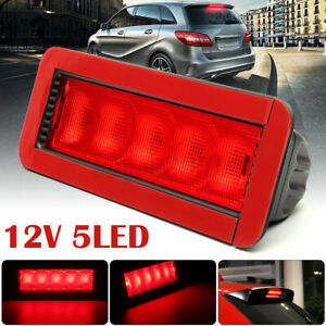 Universal Car Red 5 Led 12v High Mount Rear Third 3rd Brake Stop Tail Light Lamp