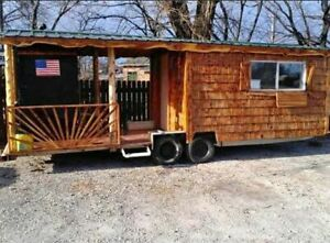 Rustic Cabin Style 8 X 24 Barbecue Food Concession Trailer With Porch For Sale