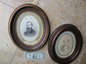 Scarce Matched Pair Of Identified Early Antique Oval Walnut Frames1840 Victorian