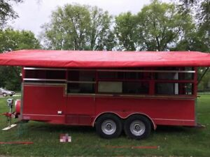 8 X 18 Barbecue Concession Trailer Bbq Pit Smoker Rig With Awning For Sale In