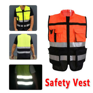 Adult High Visibility Safe Vest With Zipper Reflective Jacket Secure Waistcoat