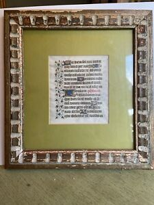 15th C Page Medieval Illuminated Manuscript 1450 Book Of Hours 2 Sided Framed