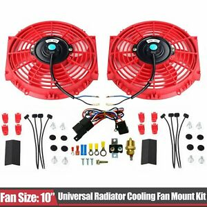 Red 2x 10 Electric Radiator Cooling Fan 1x Thermostat Relay