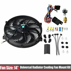 14 Electric Cooling Radiator Fan 3 8 Probe Ground Thermostat Switch Kit Bk