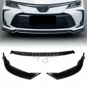 For 19 20 Toyota Corolla Painted Black Front Body Kit Bumper Spoiler Lip 3pcs