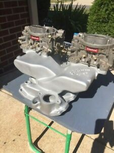 Edelbrock Cross Ram Intake Manifold Small Block Chevy Carburetors Hot Rod