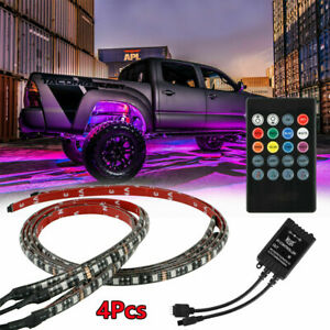 4pcs 48 Led Rgb Under Car Tube Glow Underglow Underbody System Neon Strip Lights