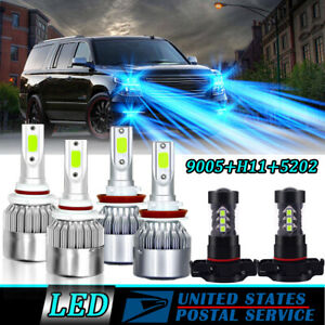 Led For 2007 2014 Chevy Suburban Tahoe Led Headlight Fog Light Bulbs 8000k Blue