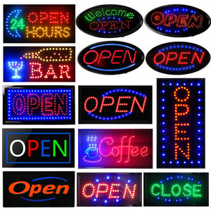 Boshen Led Open Sign Business Shop Animated Motion Neon Light Office Lighting