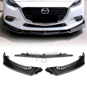 For 2014 2018 Mazda 3 Carbon Style Front Bumper Body Kit Spoiler Lip 3pcs
