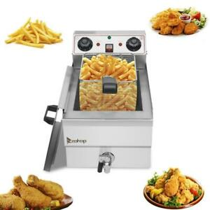 Zokop 1700w Electric Deep Fryer 12 5qt Commercial Stainless Steel Xl Fry Basket