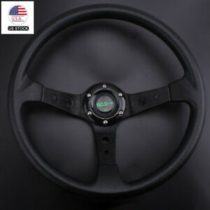 Universal 350mm 14 Racing Car 6 Bolt Steering Wheel Horn Button 95mm Deep Dish