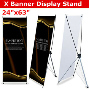 X Banner Display Stand Show Advertising Floor Roll Up Banner Poster 60x160cm