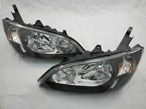 2004 2005 Honda Civic Direct Replacement Headlight Set Clearlens Amber Reflector