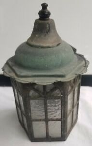 Vintage Copper Porch Light Wall Sconce Glass Mission Art Craft