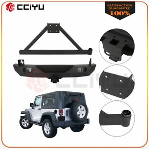 For 07 18 Jeep Wrangler Jk Texture Steel Rear Bumper led Light tire Carrier