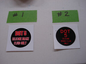 Master Cylinder Decal Dot 5 Silicone Brake Fluid Only