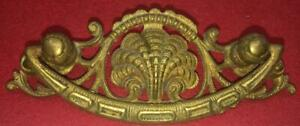 Vintage French Country Rococo Brass Ornate Shell Hardware Drawer Pull Nouveau