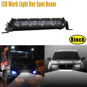 Sigle Row 8 inch 60W LED Work Light Bar 4WD Car Off-Road Driving Trucks ATV 12V