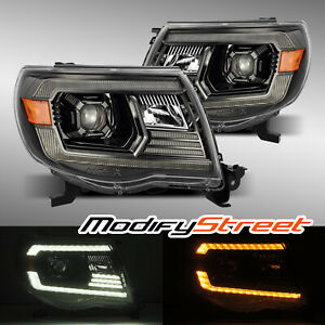 Polished Black Projector Headlights For 05 11 Toyota Tacoma Prerunner Xrunner