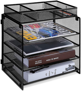 5 Tier Letter Paper Tray Mesh Desk File Organizer With 4 Letter Size Trays And 1