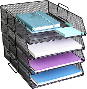 4 Tier Pack Stackable Tray Office Desk Organizer File And Desktop Holder For Pap