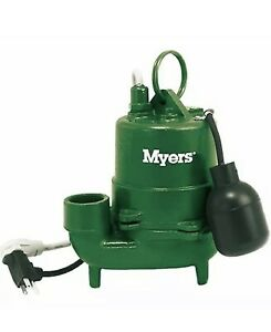 Myers S40ht 11p 1 3 Hp Cast Iron High Temp Effluent Pump W Tether Float Switch
