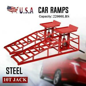 2pc Hydraulic Vehicle Car Ramps 10 000lbs Capacity Portable For Car Repair Red