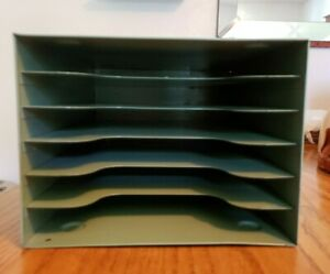 Vintage Industrial Green Metal Desk Paper Organizer 6 Tray Mid Century awesome