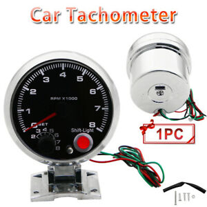 New Universal Car 3 75 Inch Tachometer Tacho Gauge Meter Shift Light Black