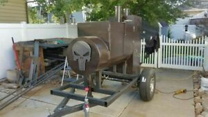 Heavy duty Reverse Flow Open Bbq Pit Smoker Trailer mobile Bbq Unit For Sale In
