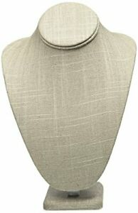 Caddy Bay Collection Grey Linen Necklace Jewelry Display Stand Bust Figure 7 5