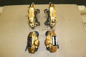 Jdm 2004 2007 Subaru Wrx Sti Gold Brembo Brake Calipers Front Rear Set 4 2 Pot
