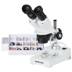 Amscope Se303r p rk15 10x 30x Stereo Microscope With Rock Collection
