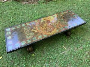 Witco Tiki Bar Ancient Aztec Calendar Carved Wooden Coffee Table 1960s Mcm Mod
