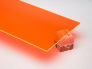 Orange Neon Fluorescent Acrylic Plexiglass Plastic Sheet 1 8 thick 12 X 12